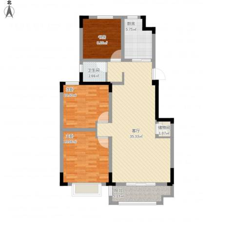 北环阳光花园3室1厅1卫1厨119.00㎡户型图