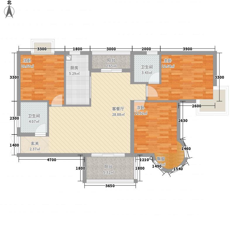 巴陵首府12.15㎡一期1#楼29层G户型3室2厅2卫1厨