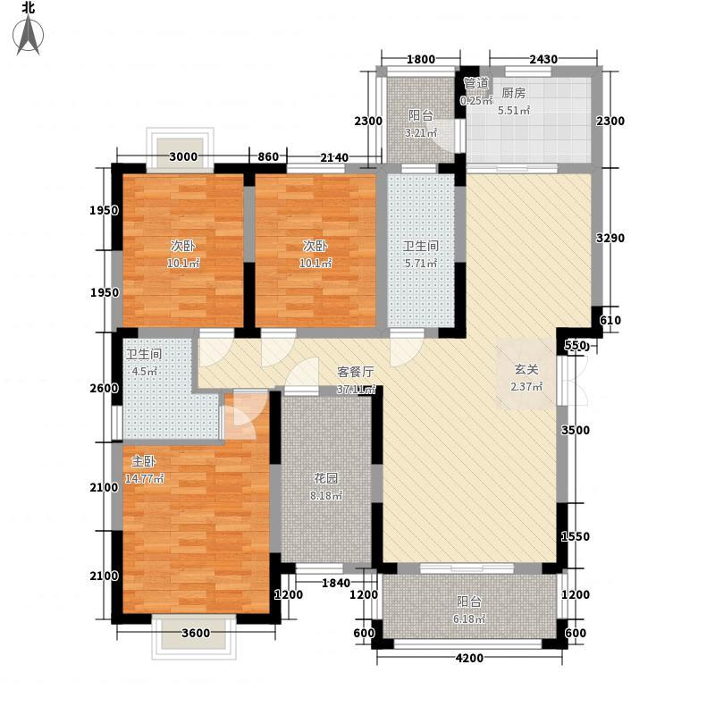 世纪豪庭134.64㎡A户型4室2厅2卫1厨
