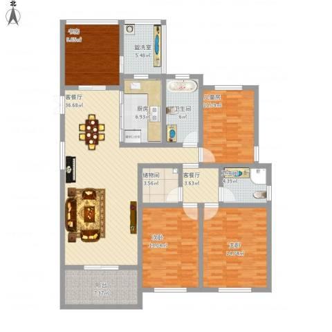 城站国际广场4室3厅2卫1厨177.00㎡户型图