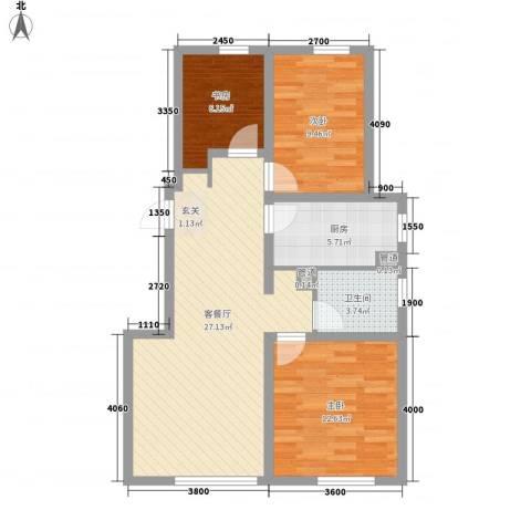 中铁万科香湖盛景3室1厅1卫1厨94.00㎡户型图