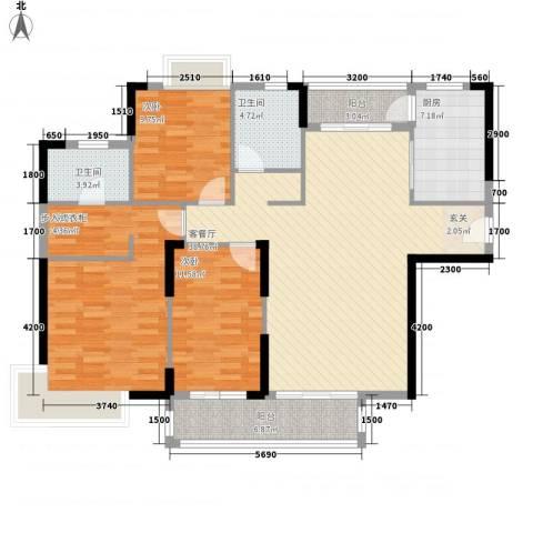 滨河佳苑3室1厅2卫1厨115.00㎡户型图