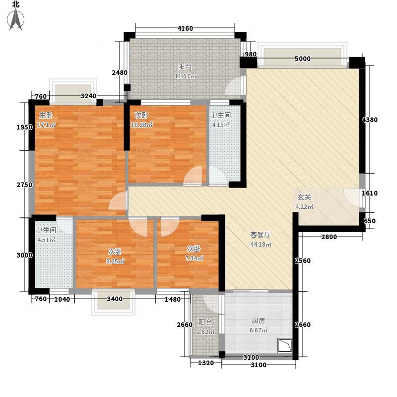 东方明珠花园商住小区144.00㎡F1栋04单元户型4室2厅2卫1厨