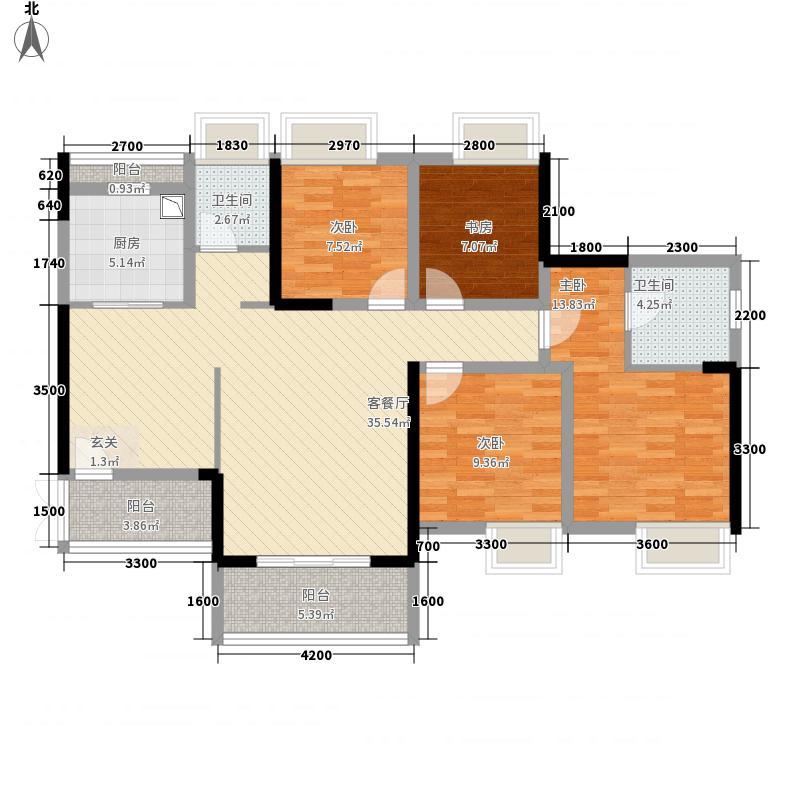 黄埔国际128.50㎡黄埔公馆D2户型4室2厅2卫1厨
