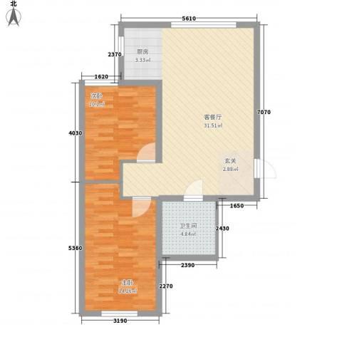 木都水岸2室1厅1卫0厨68.00㎡户型图