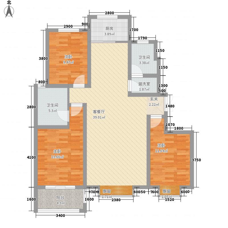 安阳中信城128.60㎡D2户型3室2厅2卫1厨