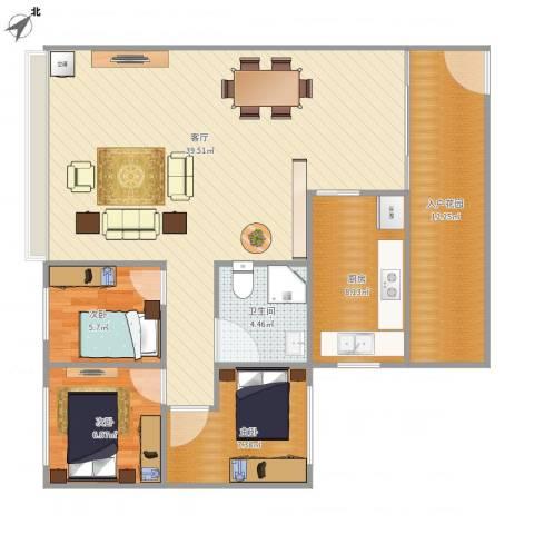 华发新城六期3室1厅1卫1厨113.00㎡户型图