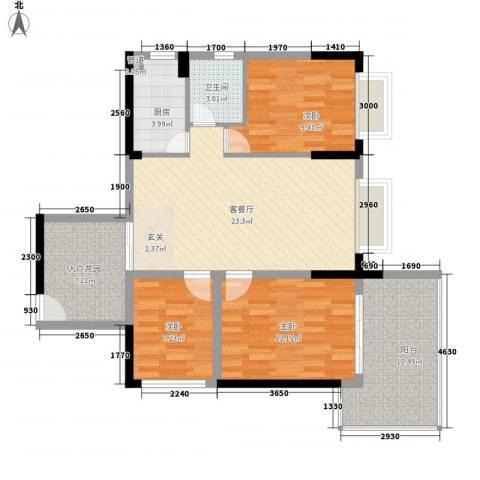 金田风华苑3室1厅1卫1厨118.00㎡户型图