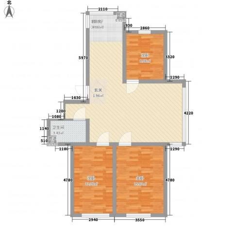 木都水岸3室1厅1卫0厨87.00㎡户型图