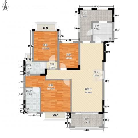 华发・蔚蓝堡3室1厅2卫1厨149.00㎡户型图