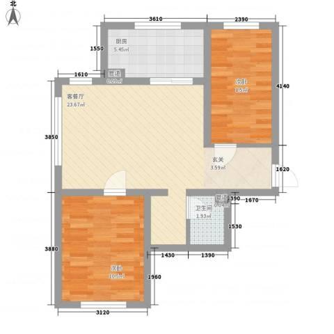 木都水岸2室1厅1卫1厨58.28㎡户型图
