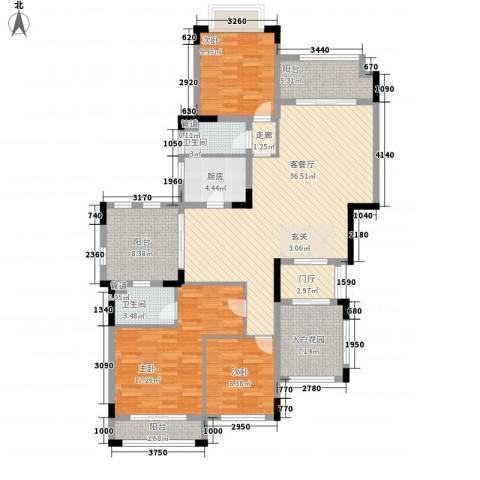 华发・蔚蓝堡3室1厅2卫1厨160.00㎡户型图