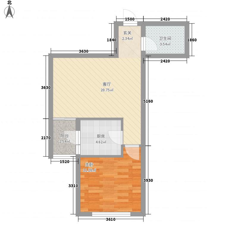 天福时代阳光61.00㎡一居室户型1室1厅1卫1厨