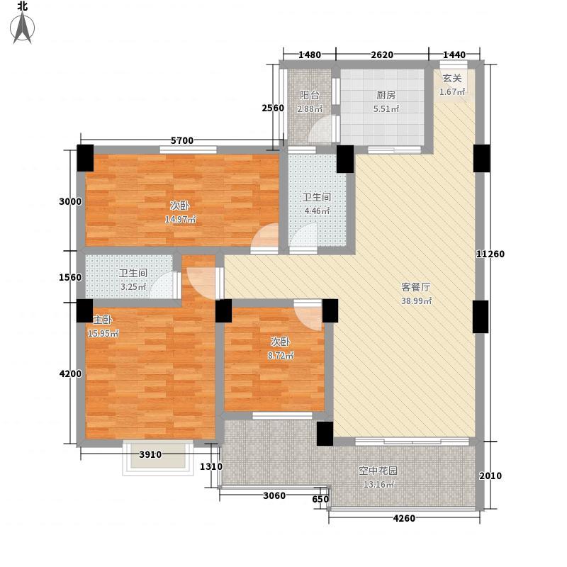 聚福雅居128.27㎡AB栋01、02单元户型3室2厅2卫1厨