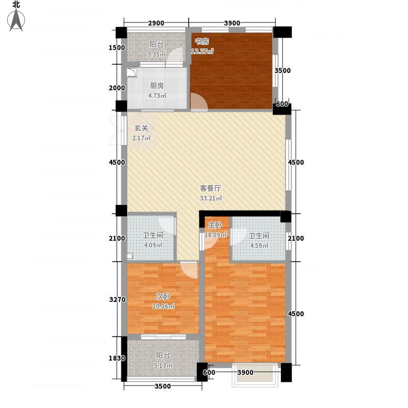 江南明珠3213.62㎡B-e户型3室2厅1卫1厨