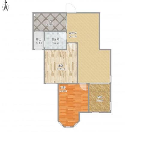 国金华府3室1厅1卫1厨95.00㎡户型图