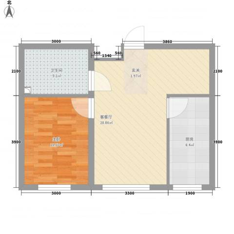 畅心园1室1厅1卫1厨63.00㎡户型图