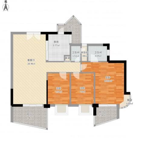 绿景华庭3室1厅2卫1厨118.00㎡户型图
