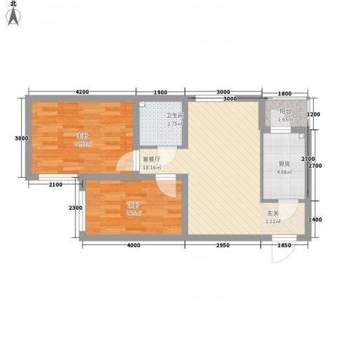畅心园2室1厅1卫1厨71.00㎡户型图