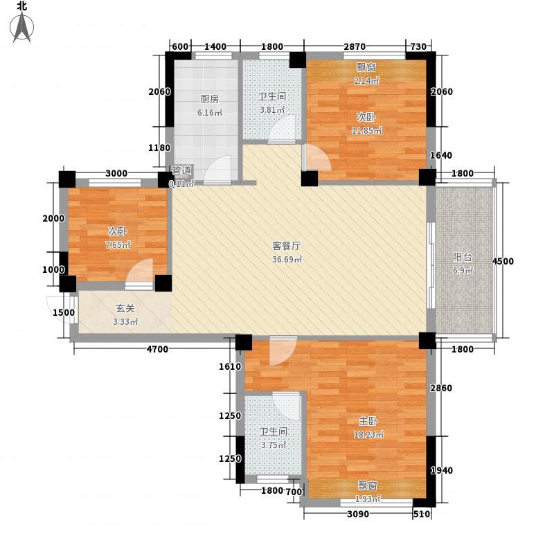 中建・国际花园127.56㎡A2户型3室2厅2卫1厨