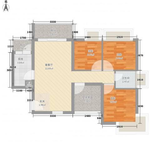 德丰二月天3室1厅1卫1厨88.00㎡户型图