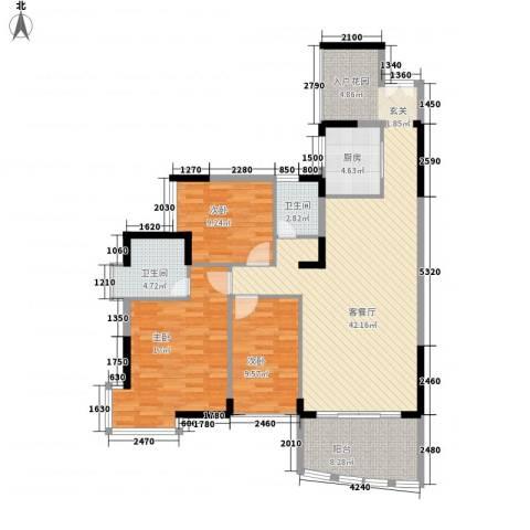 华星雅苑3室1厅2卫1厨138.00㎡户型图