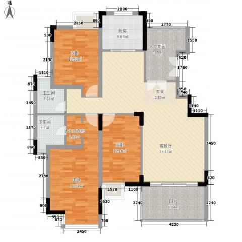 华星雅苑3室1厅2卫1厨143.00㎡户型图