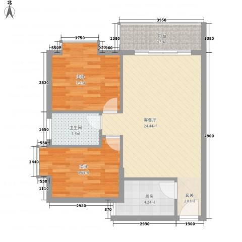 惠丰城2室1厅1卫1厨75.00㎡户型图