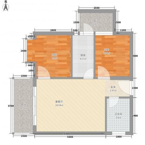 惠丰城2室1厅1卫1厨48.90㎡户型图