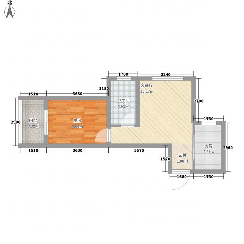 启迪国际城・逸居52.71㎡07#A户型1室1厅1卫1厨