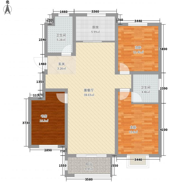 天鹭・清林雅筑134.00㎡Q1户型3室2厅2卫