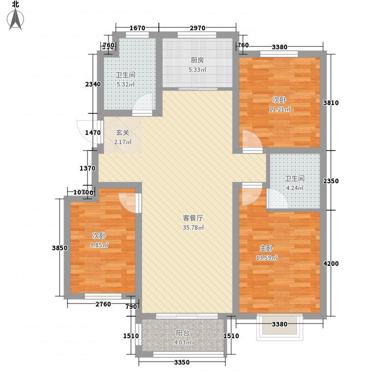 天鹭・清林雅筑128.00㎡P1户型3室2厅2卫