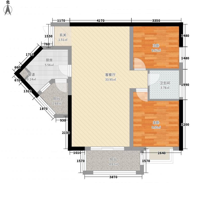 汇豪大厦100.00㎡2室2厅户型2室2厅1卫1厨