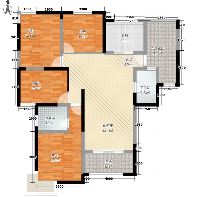 中建・国际花园142.00㎡中建?国际花园高层B1户型4室2厅2卫1厨