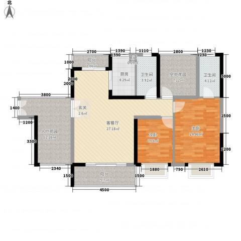 金汇上元2室1厅2卫1厨89.07㎡户型图