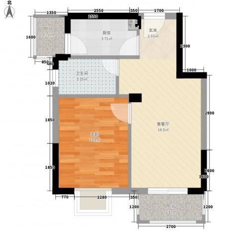 金汇上元1室1厅1卫1厨55.00㎡户型图