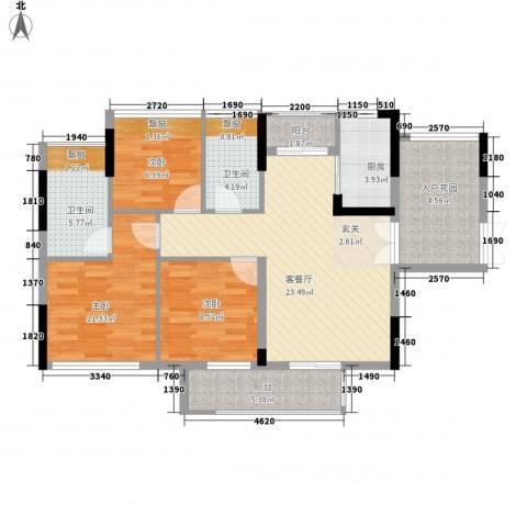 中信德方斯3室1厅2卫1厨114.00㎡户型图