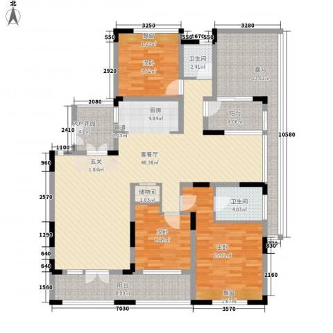 金色家园3室1厅2卫0厨142.00㎡户型图