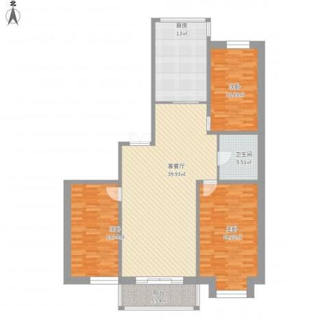 鑫丰又一城3室1厅1卫1厨153.00㎡户型图