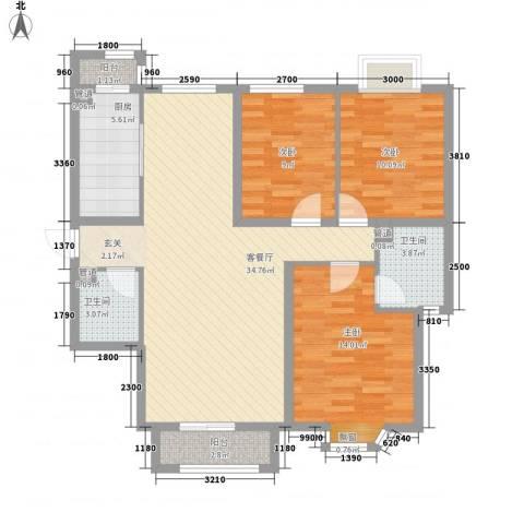 美林海岸花园碧水轩3室1厅2卫1厨121.00㎡户型图