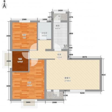 美林海岸花园碧水轩3室1厅1卫1厨96.00㎡户型图