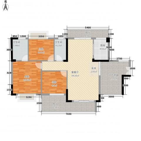 金河湾3室1厅2卫1厨132.00㎡户型图