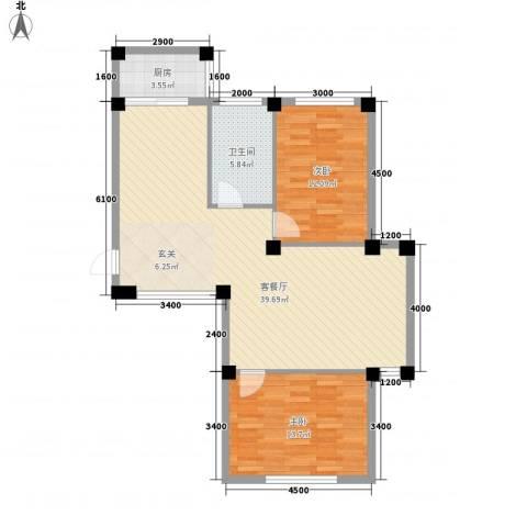 名仕家园2室1厅1卫1厨75.00㎡户型图