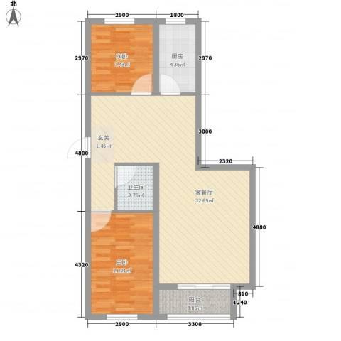 心悦购物广场2室1厅1卫1厨88.00㎡户型图