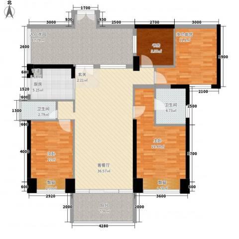 城建仁山智水花园3室1厅2卫1厨120.93㎡户型图
