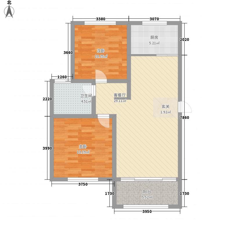 林语美墅7.40㎡小高层19-2户型2室2厅1卫1厨