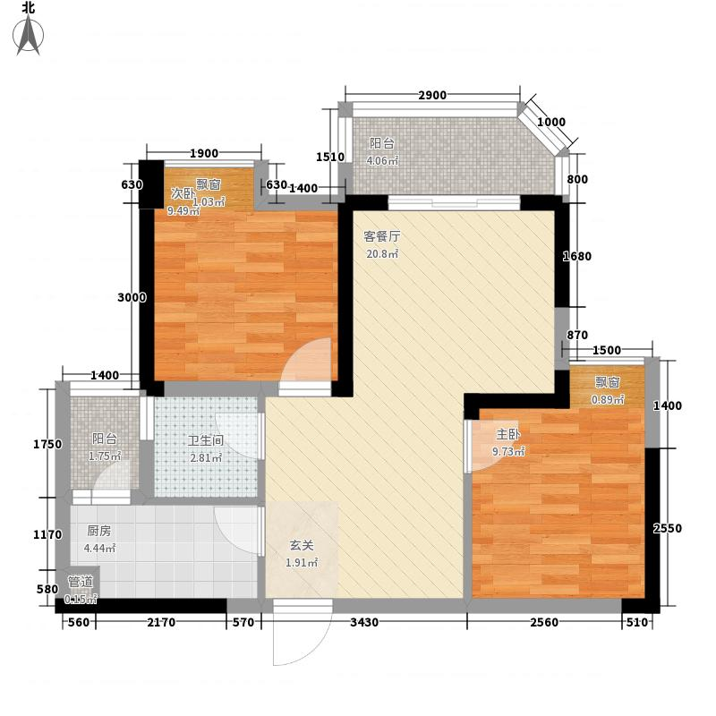 山海天爵仕32267.82㎡B3-2型户型2室2厅1卫