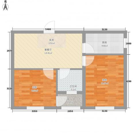心悦购物广场2室1厅1卫1厨65.00㎡户型图