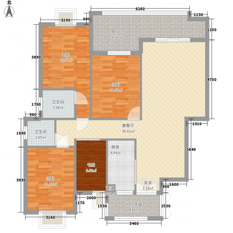 三盛温泉新都城148.00㎡户型4室2厅2卫1厨