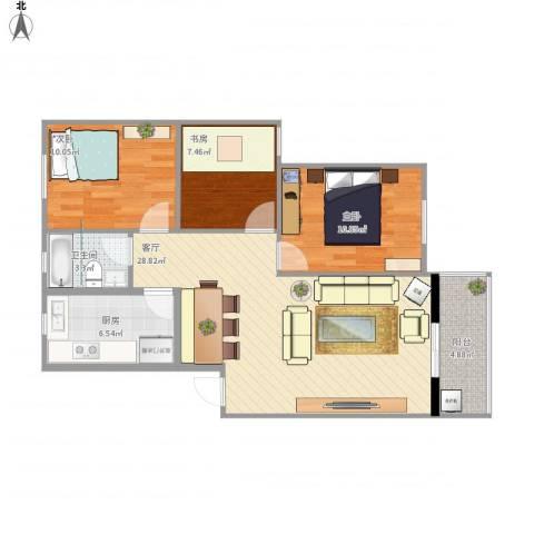 太空花园3室1厅1卫1厨98.00㎡户型图